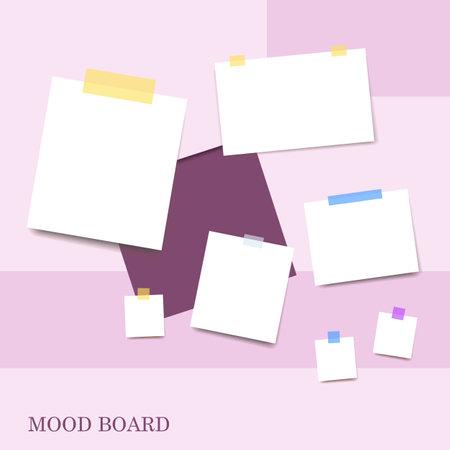Sticky notes violet shades color mood board Çizim