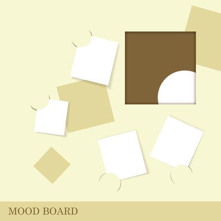 Sticky notes minimalist style palette, mood board