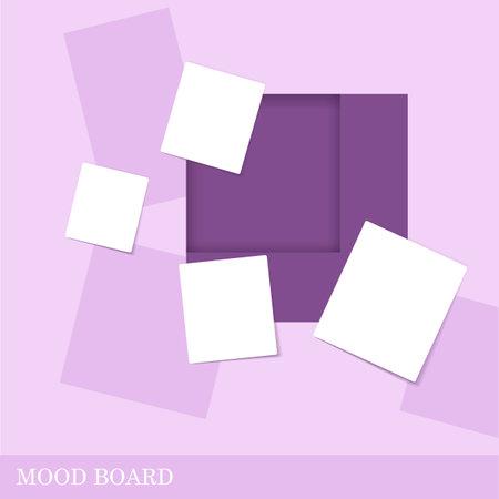 Square shape violet color mood board template