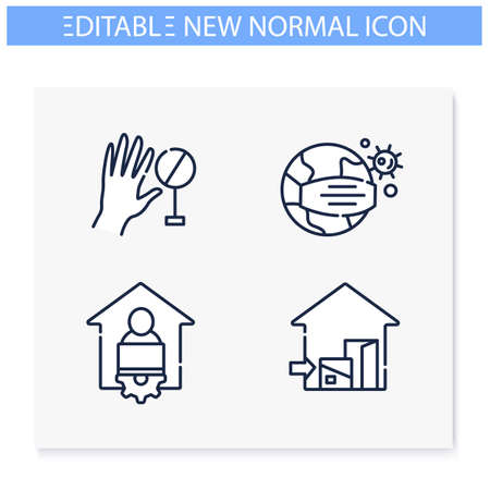 New normal concept line icons set. Editable Illustration