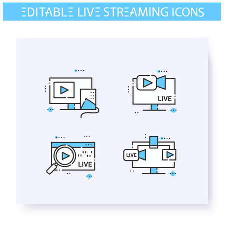 Live streaming line icon. Editable illustrations