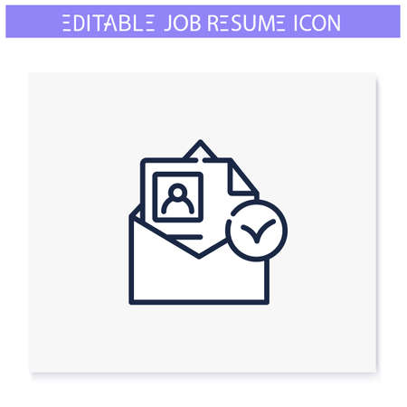 Resume accepted line icon. Editable illustration