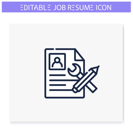 Resume proofreading line icon. Editable