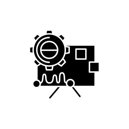 Performance analysis glyph icon. Silhouette