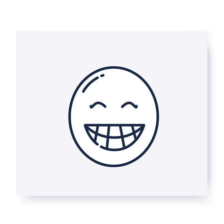 Beaming face line icon. Editable illustration