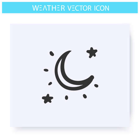 Clear night sky icon. Starry sky with moon