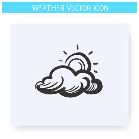 Cloudy sky icon. Sun behind the cloud