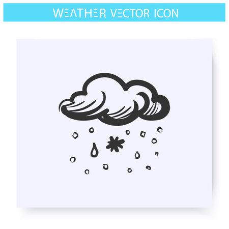 Sleet snow icon. Snow with rain