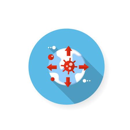 Pandemic map flat icon Ilustração