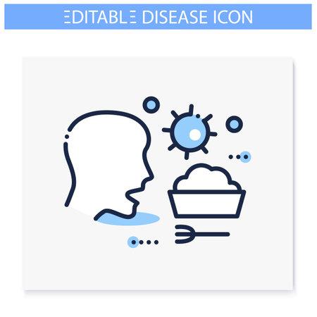 Food infection line icon. Editable illustration
