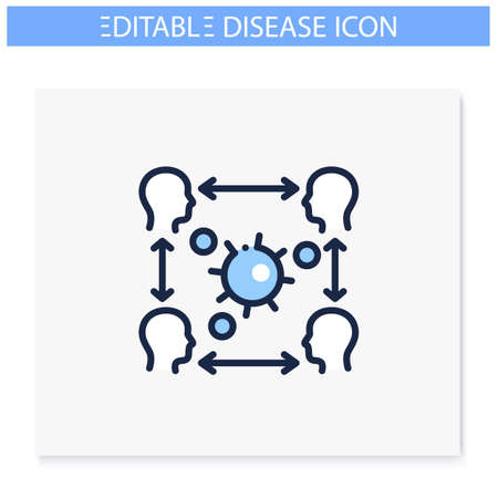 Infection cycle line icon. Editable