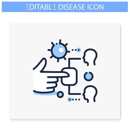 Contact spread line icon. Editable illustration