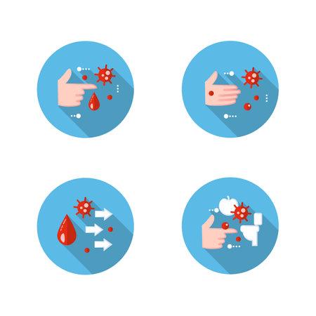 Disease spread concept flat icons set