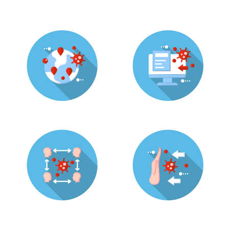 Spread of disease concept flat icons set Ilustração