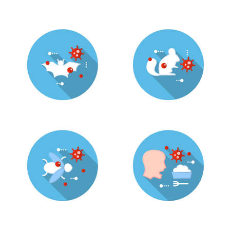 Disease spread concept flat icons set