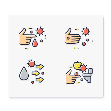 Disease spread concept color icons set Ilustração