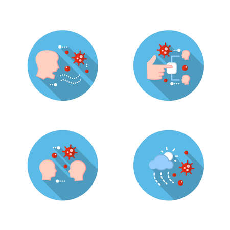 Disease spread flat icons set