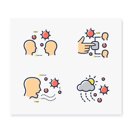 Disease spread color icons set