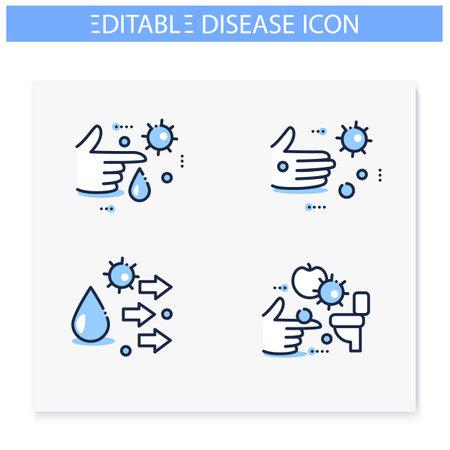 Disease spread concept line icons set. Editable