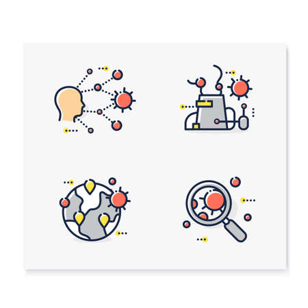 Spread of disease concept color icons set