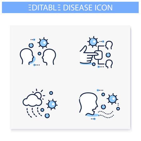 Disease spread line icons set. Editable Ilustração