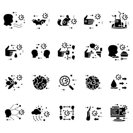 Disease spread concept glyph icons set
