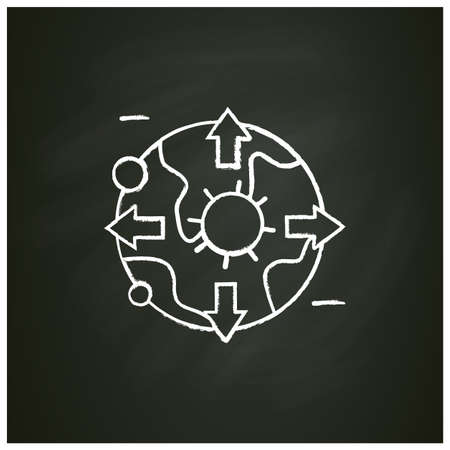 Pandemic map chalk icon