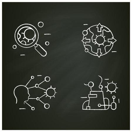 Spread of disease concept chalk icons set Ilustração