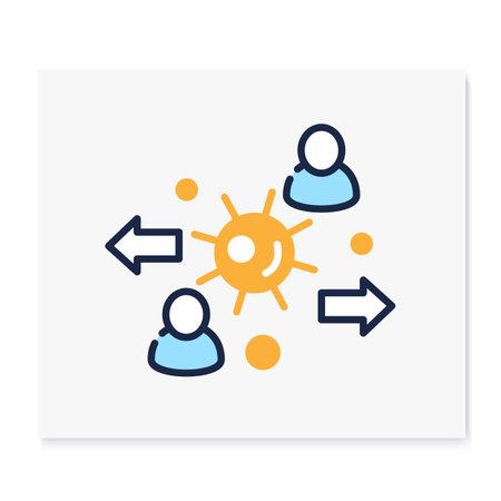 Virus spread color icon