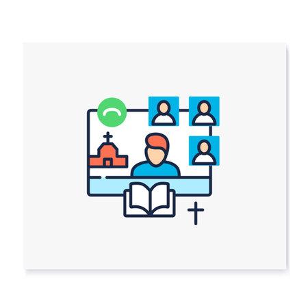 Online religious service color icon Vectores