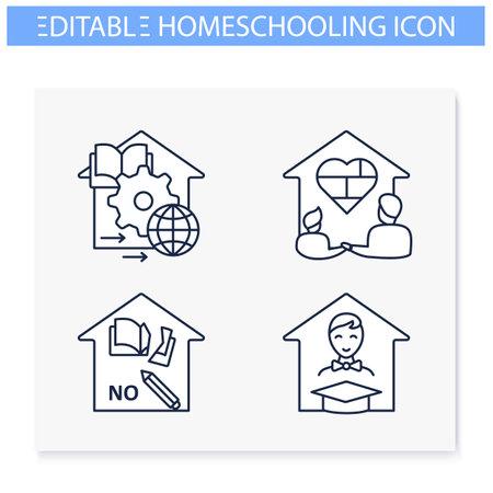Homeschooling line icons set Vector Illustratie