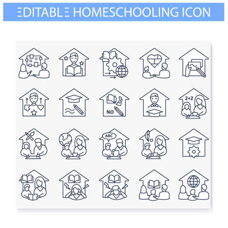 Homeschooling line icons set