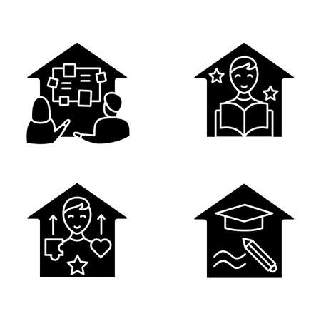 Homeschooling glyph icons set