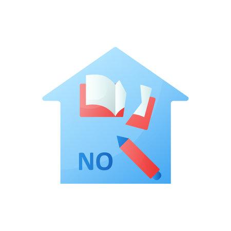 No homework flat icon
