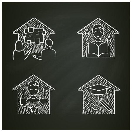 Homeschooling chalk icons set Ilustración de vector