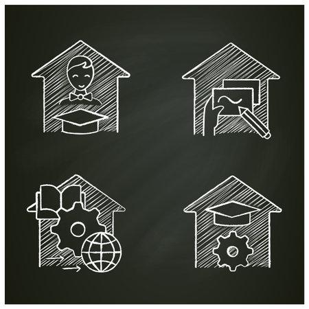 Homeschooling chalk icons set Vector Illustratie
