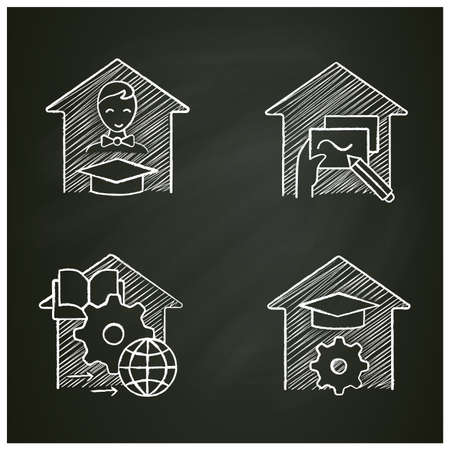 Homeschooling chalk icons set Vetores