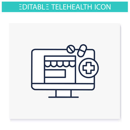 Telepharmacy line icon Vectores