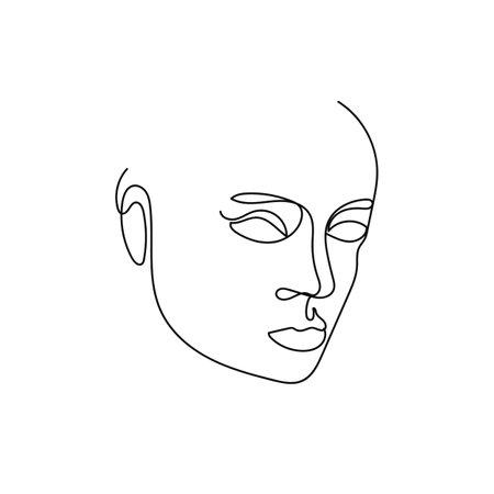 Portrait minimalist style continuous line art