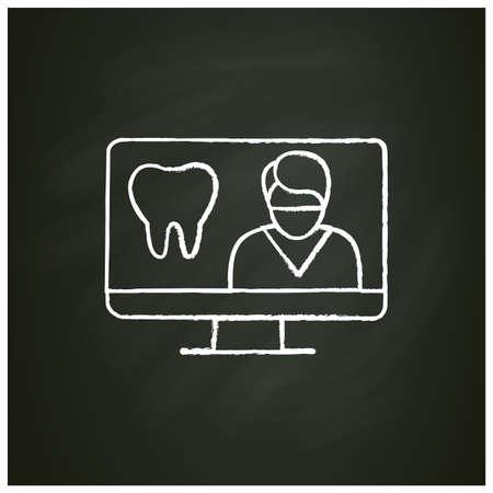 Online dentistry chalk icon