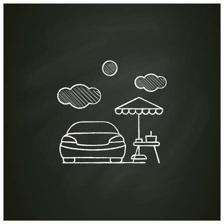 Picnic near car chalk icon Ilustração