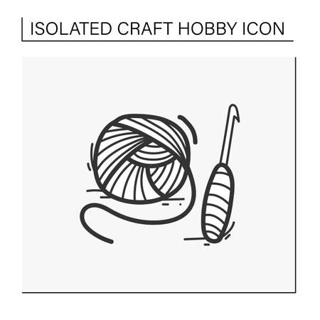Crochet basics hand drawn icon