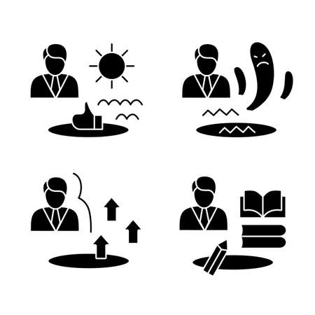 Personal growth glyph icons set