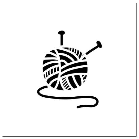Knitting glyph icon