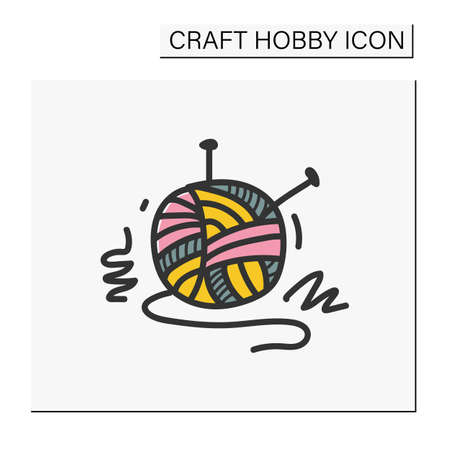 Knitting hand draw color icon