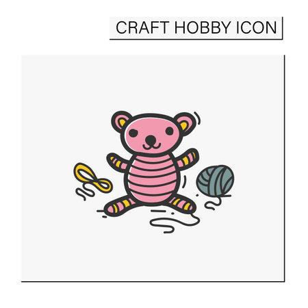 Amigurumi handmade color hand draw icon