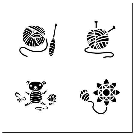 Craft hobby set glyph icons Illustration