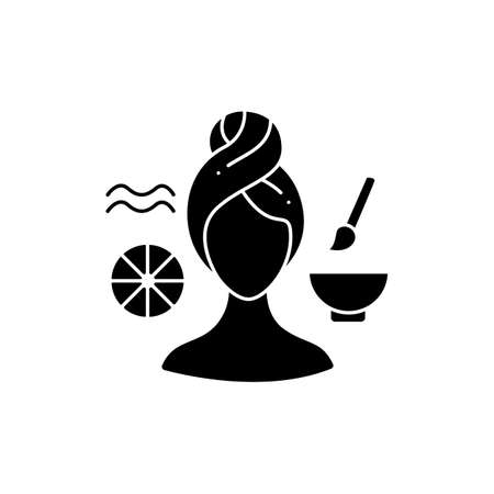 Wrinkle-fighting face mask glyph icon