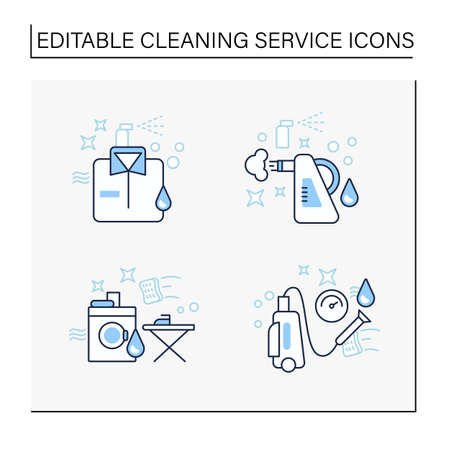 Cleaning services line icons set