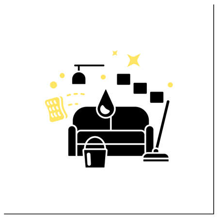 Living room cleaning glyph icon
